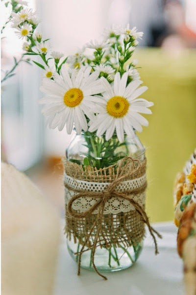 rustic spring wedding centerpiece