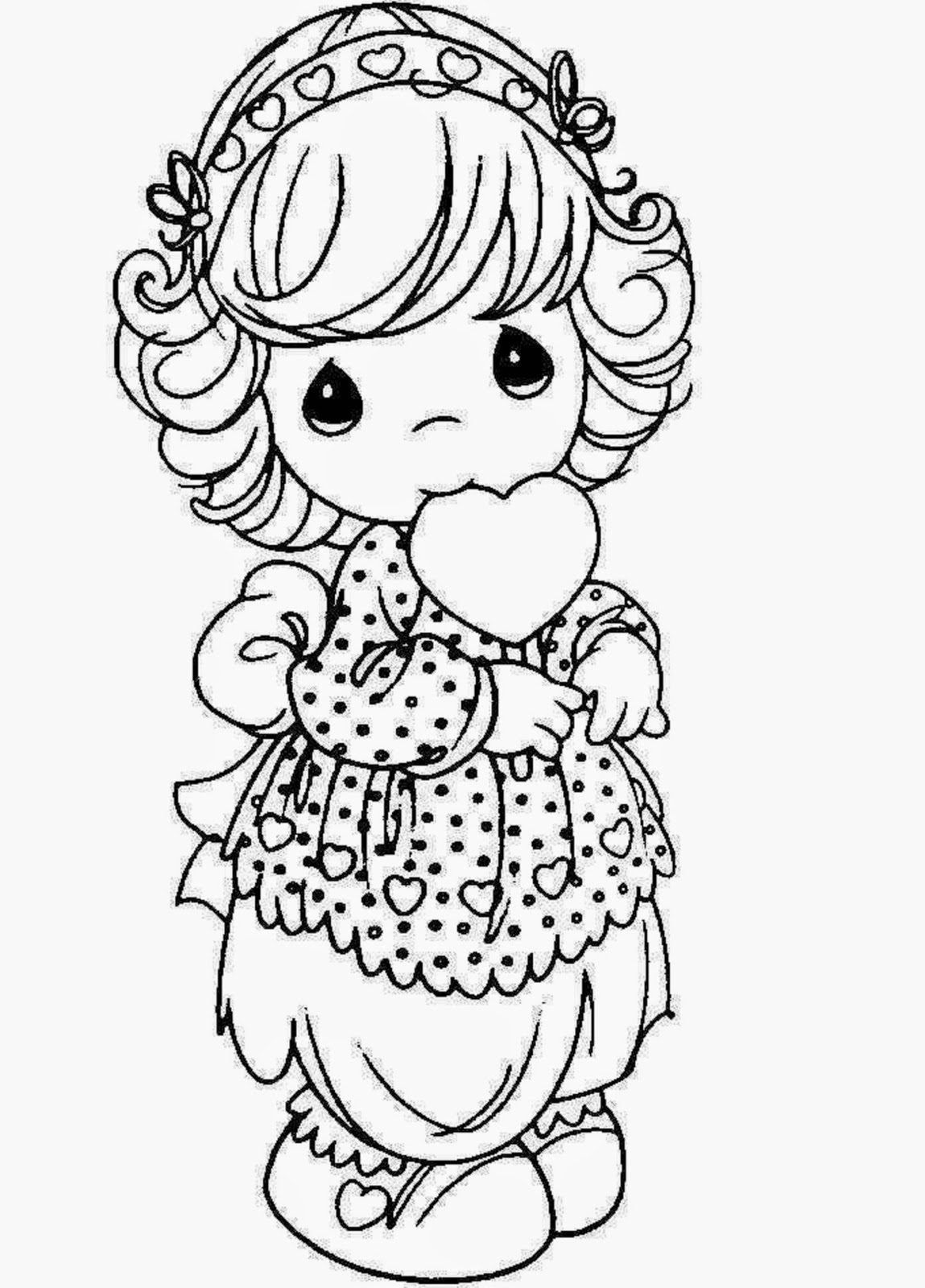 Beautiful Princess Doll Coloring Page for Kids of a Cute ...