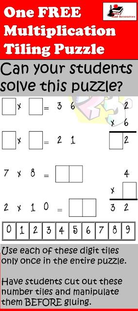 Free multiplication tiling puzzle for critical thinking and math understanding - from Raki's Rad Resources.