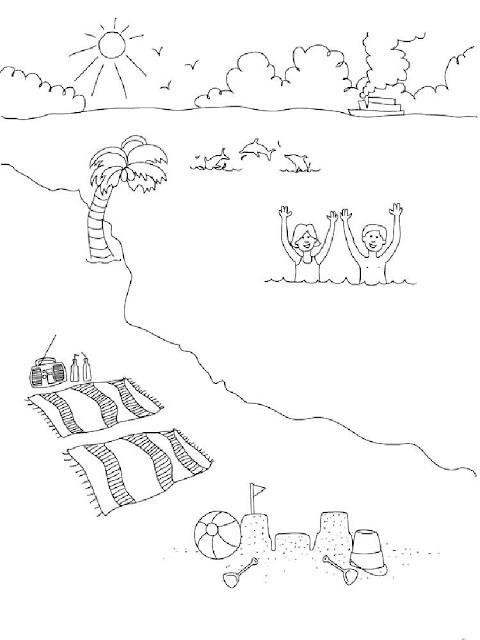 Gambar Mewarnai Pemandangan Pantai - 5
