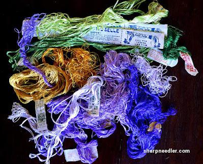 Society Silk Violets: More antique silk threads
