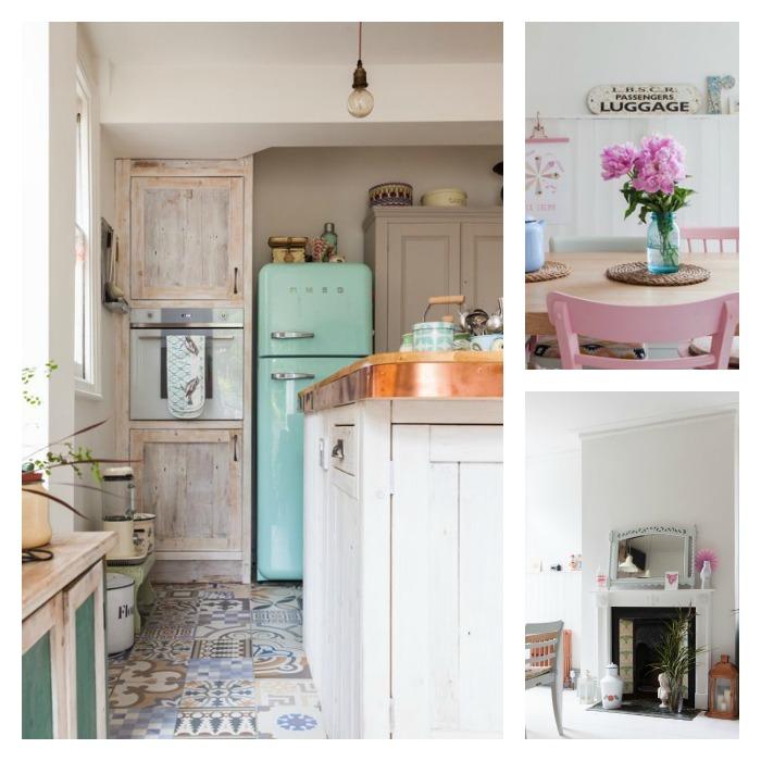 casa familiar con aires vintage y escandinavos. Baldosas hidraúlicas cocina