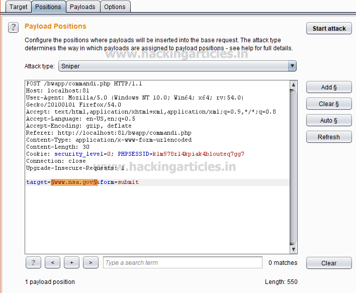 Fuzzing SQL,XSS and Command Injection using Burp Suite