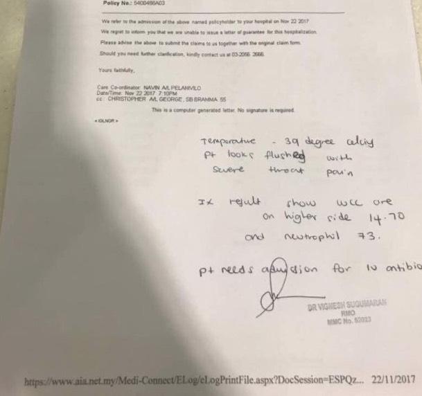 Lelaki Dedah Prudential Dan AIA Eggan Bayar Bil Hospital Pelanggan