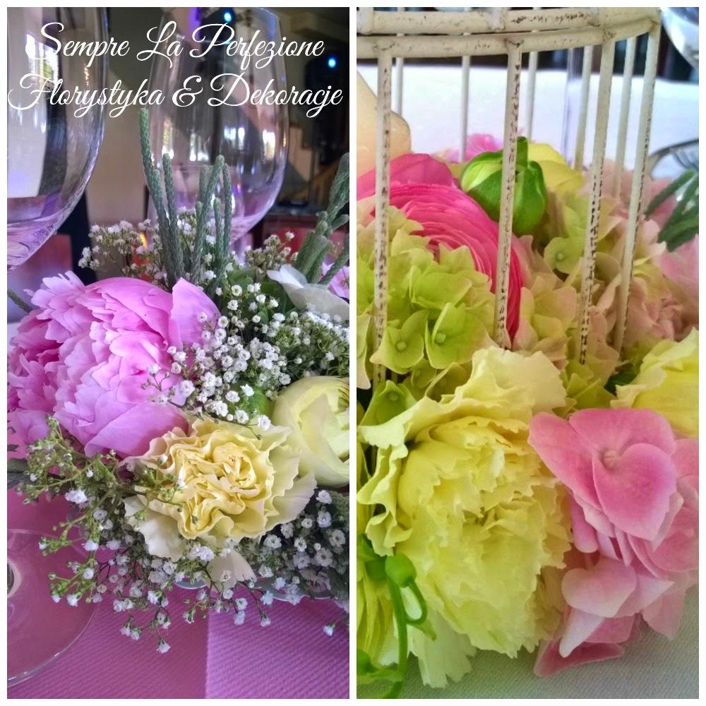 Weselna dekoracja stołu Sempre La Perfezione Florystyka & Dekoracje