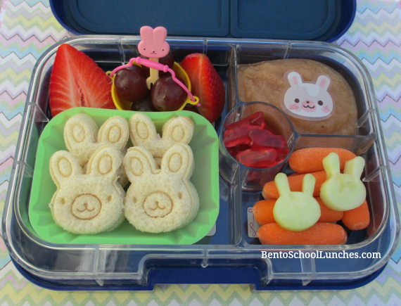 Easter bunny kids school lunch, yumbox panino