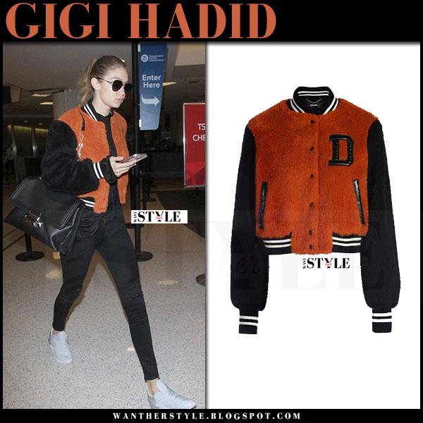 Gigi Hadid in orange varsity bomber jacket diesel what she wore model style