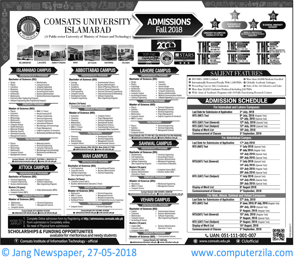 Comsats University Islamabad Admissions Fall 2018