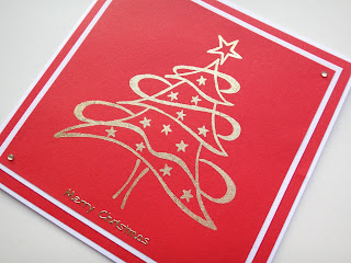 Hand made stamped and gilded swirly Christmas tree card