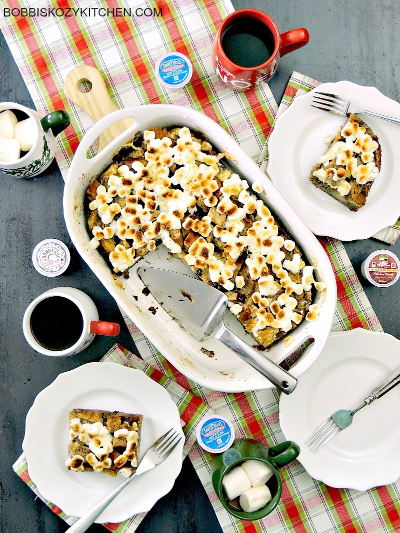Peppermint Hot Chocolate Bread Pudding is rich, and creamy, and loaded with you favorite holiday flavors from www.bobbiskozykitchen.com