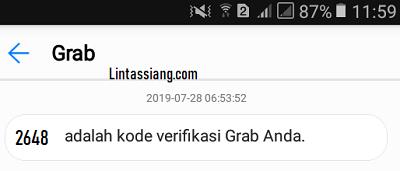 Sms verifikasi Tim Grab Banjarmasin