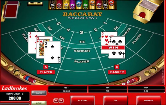 an online baccarat table
