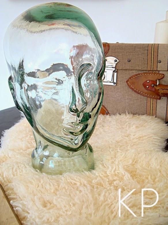 Comprar cabeza de cristal antigua para decoración, expositores antiguos de sombreros