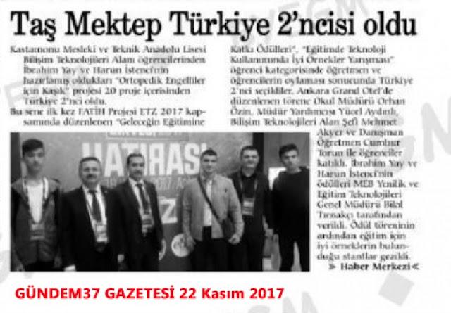 Taş Mektep Türkiye 2'ncisi oldu - Basında Harun İstenci