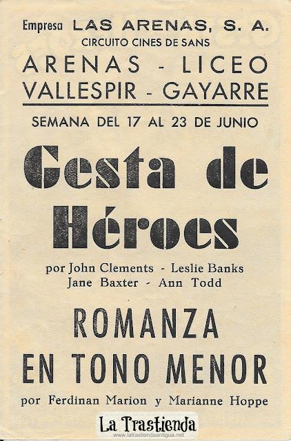 Gesta de Héroes - Programa de Cine - John Clements - Leslie Banks
