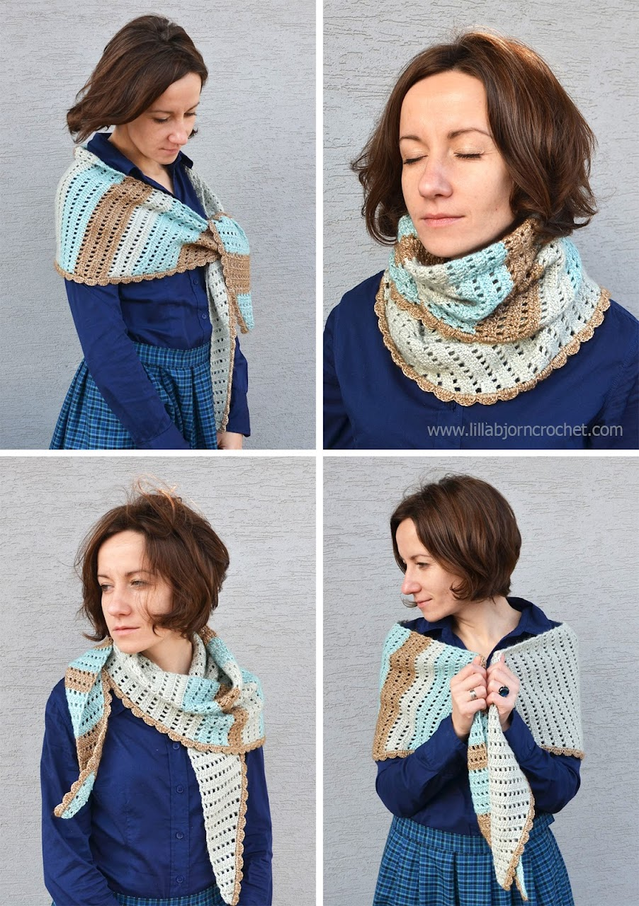 Crochet Shawlette with stripes FREE pattern
