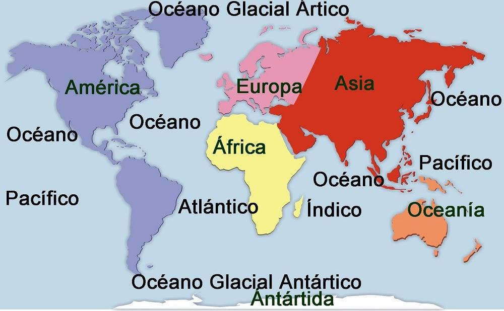 Cuales Son Los 6 Continentes Del Planisferio: Planisferio A Color