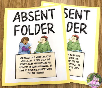 Photo of classroom absent folder covers.