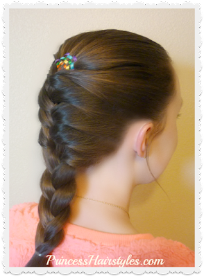 Cute braided hairstyle, rainbow ribbon braid