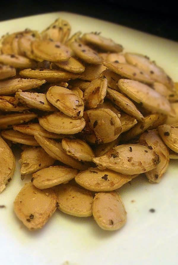 Garlic Roasted Pumpkin Seeds for Halloween
