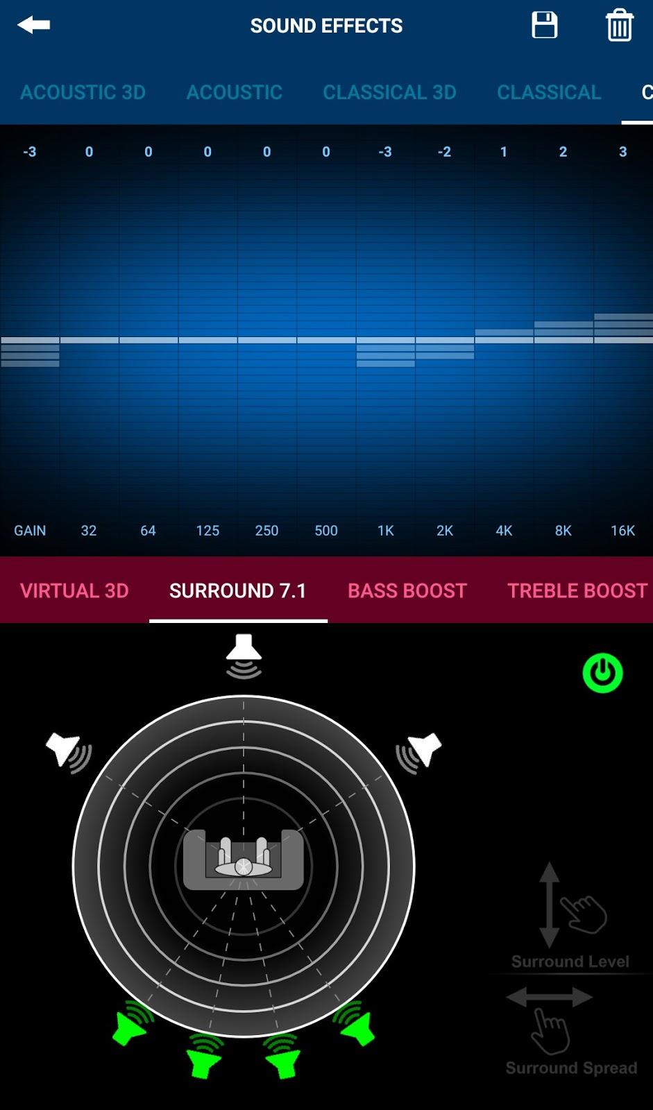 Surround sound settings page