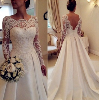 A-line Scoop Sweep/Brush Train Satin Long sleeves wedding dresses #SP8066