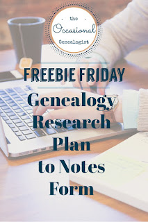 A genealogy research plan form you update to be your note-taking form can speed up your research process and help you stay on track. | The Occasional Genealogist