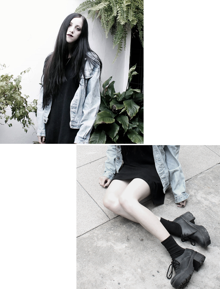 outfit, fashion, ootd, look, grunge, denim, black dress, chunky boots, lune, nocturne, blogger