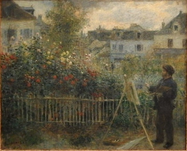 Painting of Claude Monet Painting in his Garden at Argenteuil 1873 by Renoir