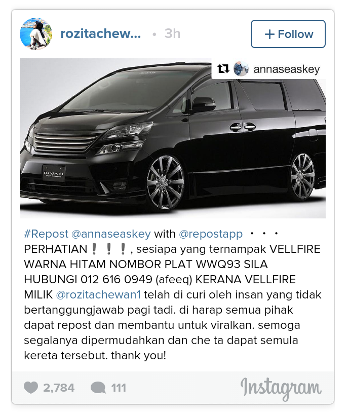 Vellfire Che Ta Hilang, Mohon Netizen Bantu Viralkan