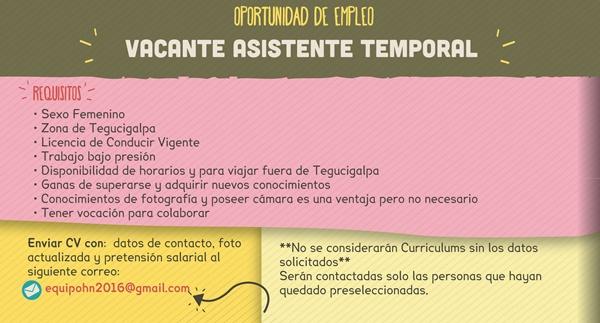Asistente temporal tegucigalpa empleos en honduras - Oficina de trabajo temporal ...