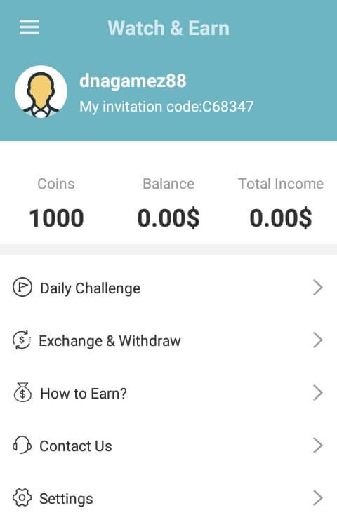 Selamat, sampai disini Anda telah berhasil mendaftar / membuat akun di aplikasi Watch & Earn dan memperoleh 1000 Coins.