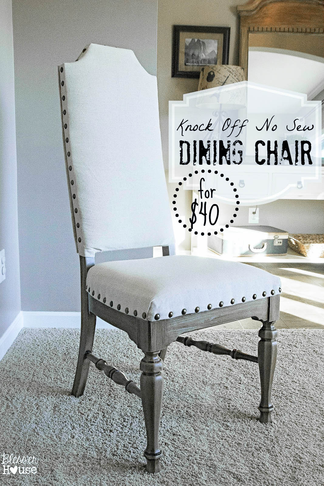 Diy reupholster dining chair - Knock Off No Sew Dining Chairs