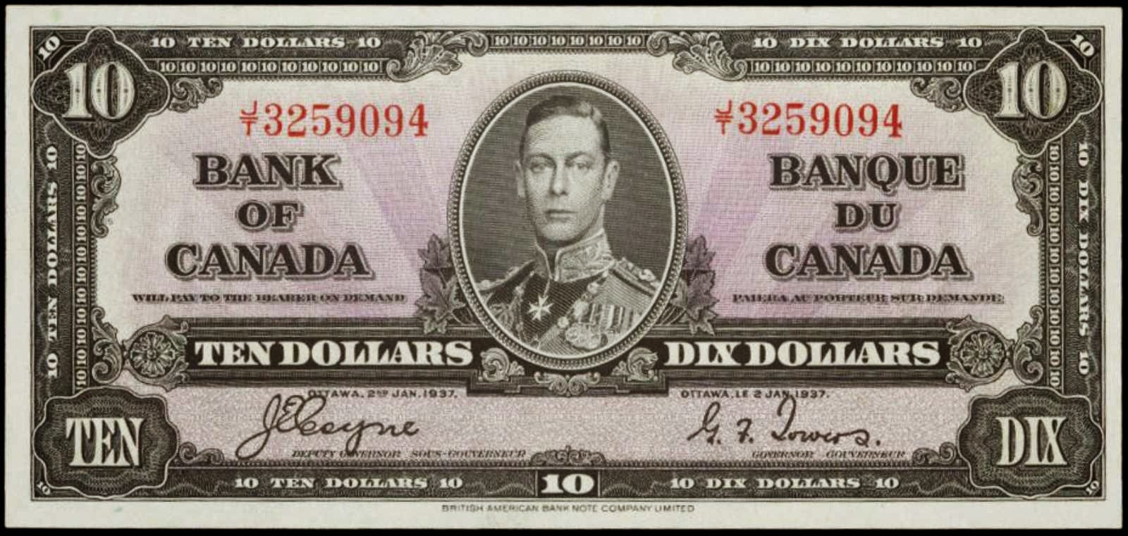 Bank of Canada banknotes 1937 Ten Dollar Bill