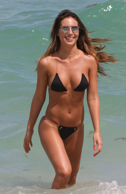 Brittny Ward in Black Bikini in Miami
