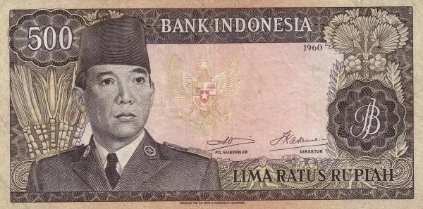 uang 500 rupiah soekarno 1965 depan