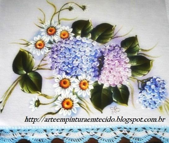 pintura em tecido flores margaridas e hortênsias