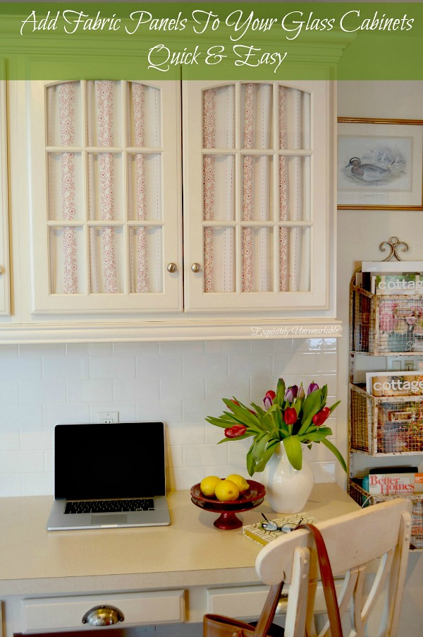 How to add fabric to glass doors the easy way.