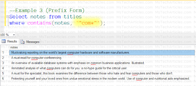 Full Text Query Contains with PrefixForm