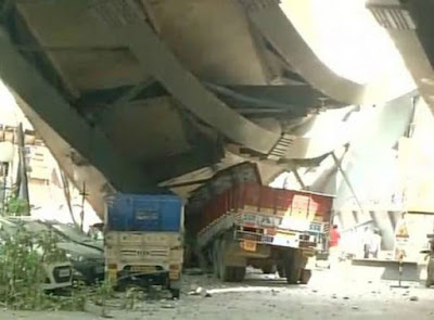 An under-constriction flyover at Burrabazar at the crowded central Kolkata collapsed on Thursday.  Several were killed and many more trapped when a portion of a the flyover gave in.  A video shot after the tragedy shows passenger vehicles, trucks and rickshaws crushed under the debris. But there is no information on how many have been trapped.