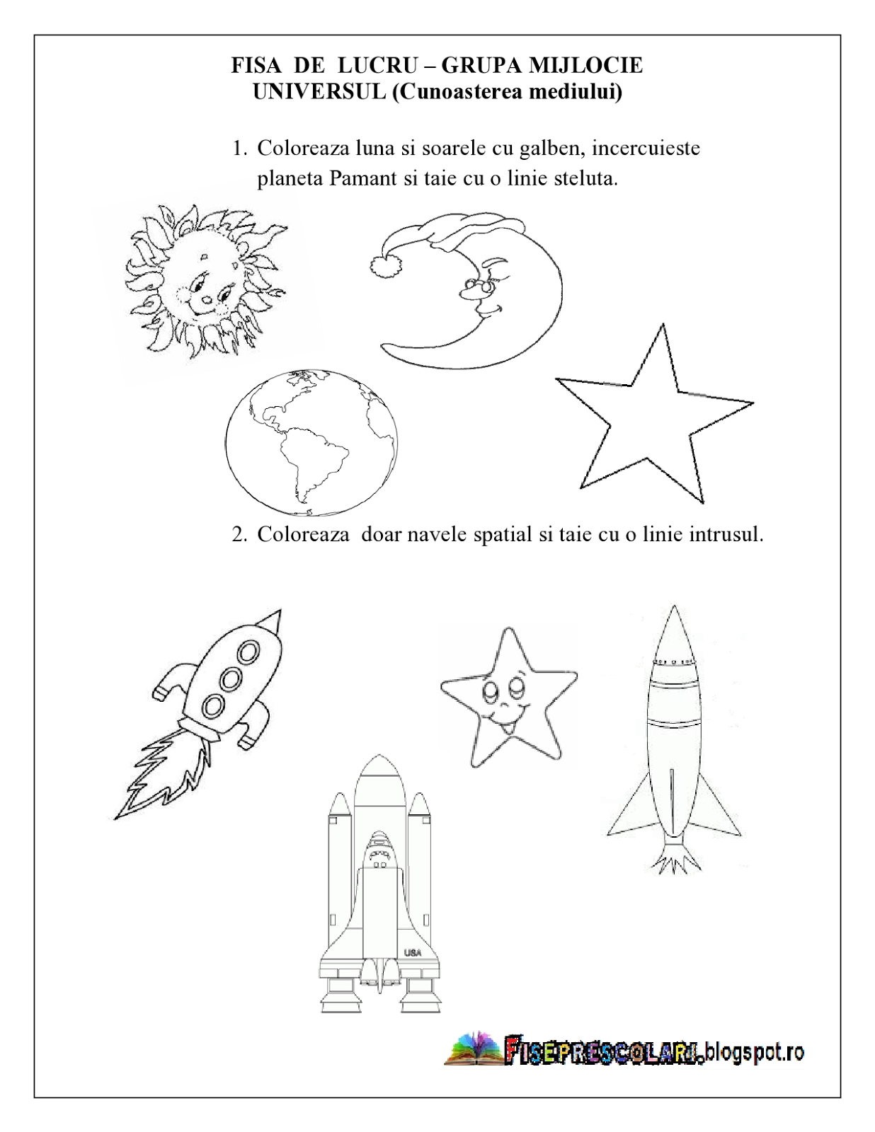 Fise De Lucru Pentru Copiii De Gradinita Universul