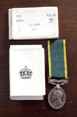 Alec Davis Efficiency medal 1945