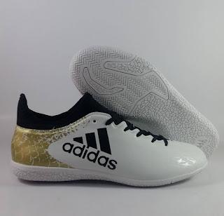 Adidas X16.3 white gold stellar pack IC Sepatu Futsal Premium, harga adidas x16 futsal , jual adidas x, adidas x futsal replika, premium , import