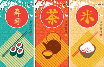 Menús japoneses en vector