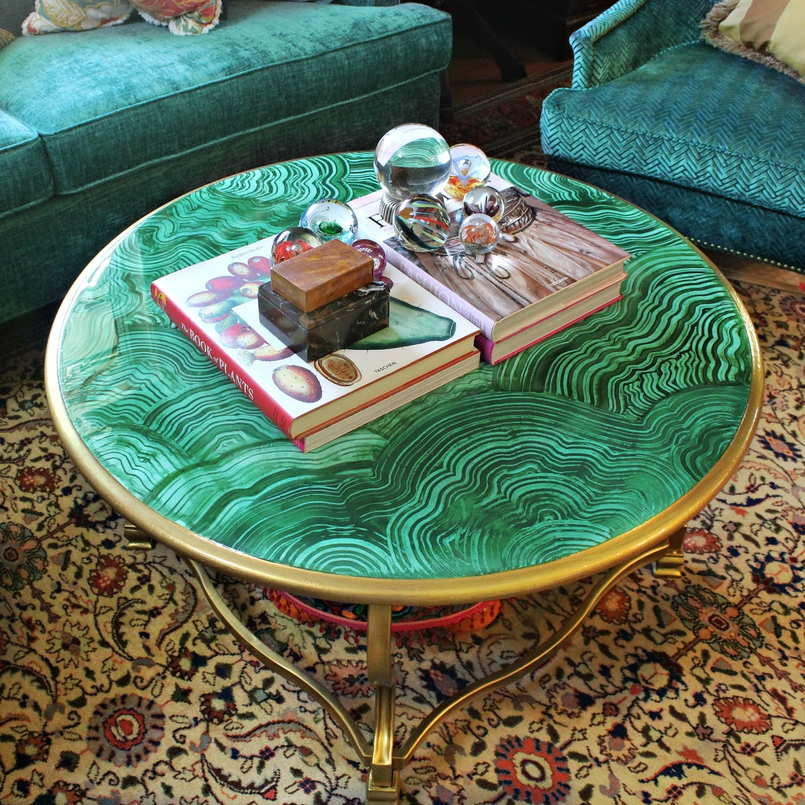 Mark Montano Faux Malachite Coffee Table