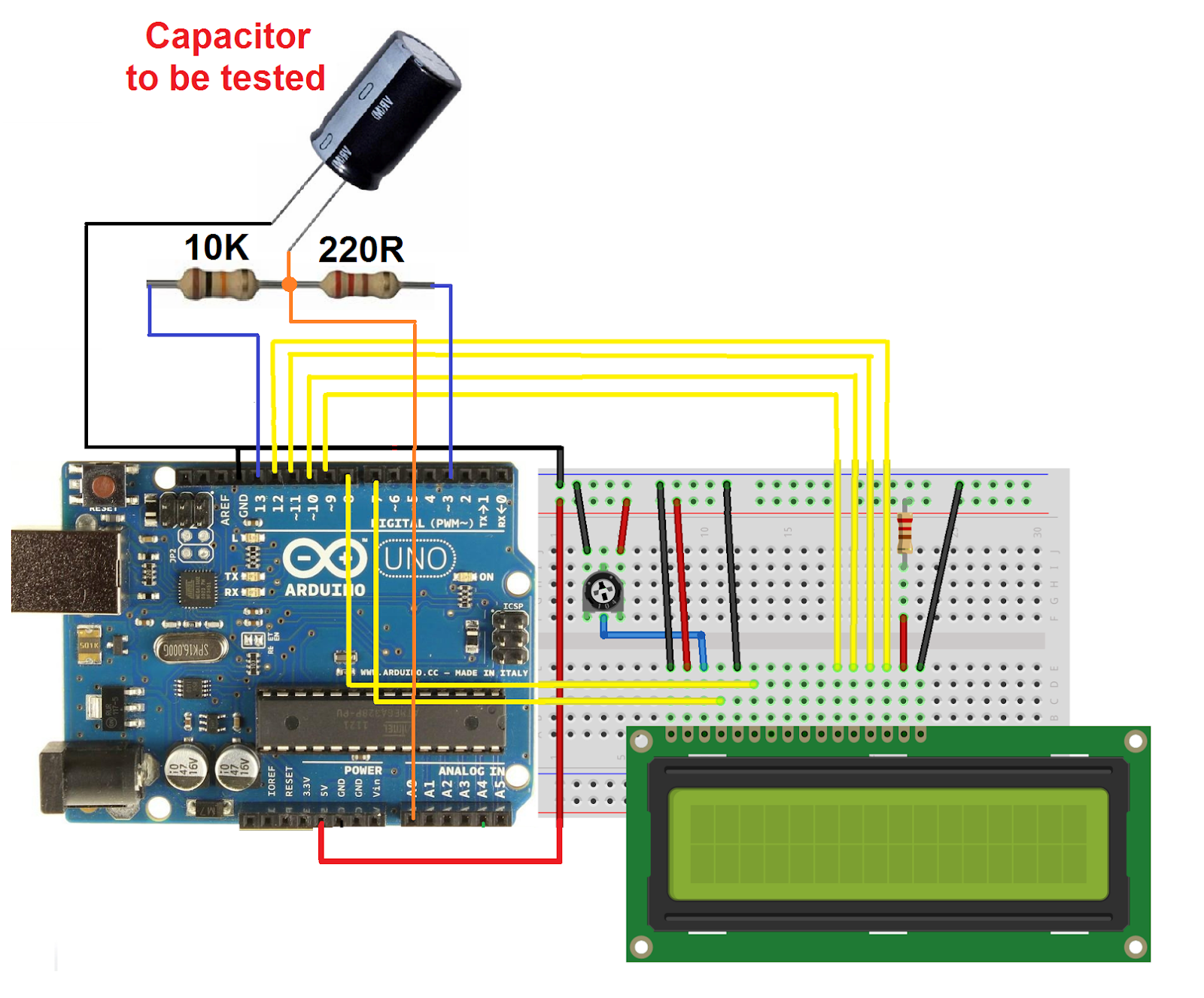 Arduino Capacitor tester with LCD ~ Simple Projects