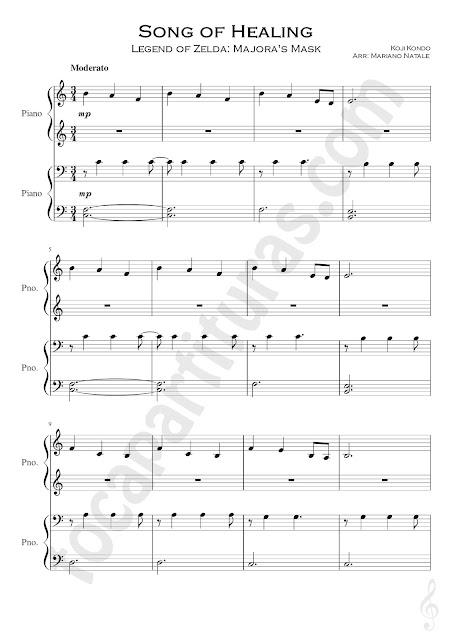 Song of Healing Partitura de Piano a 4 Manos Banda Sonora La Leyenda de Celda Nivel Inicial Pianistas Lengend of Zelda Easy Piano Sheet Music Four Hands Teacher - Student beginners