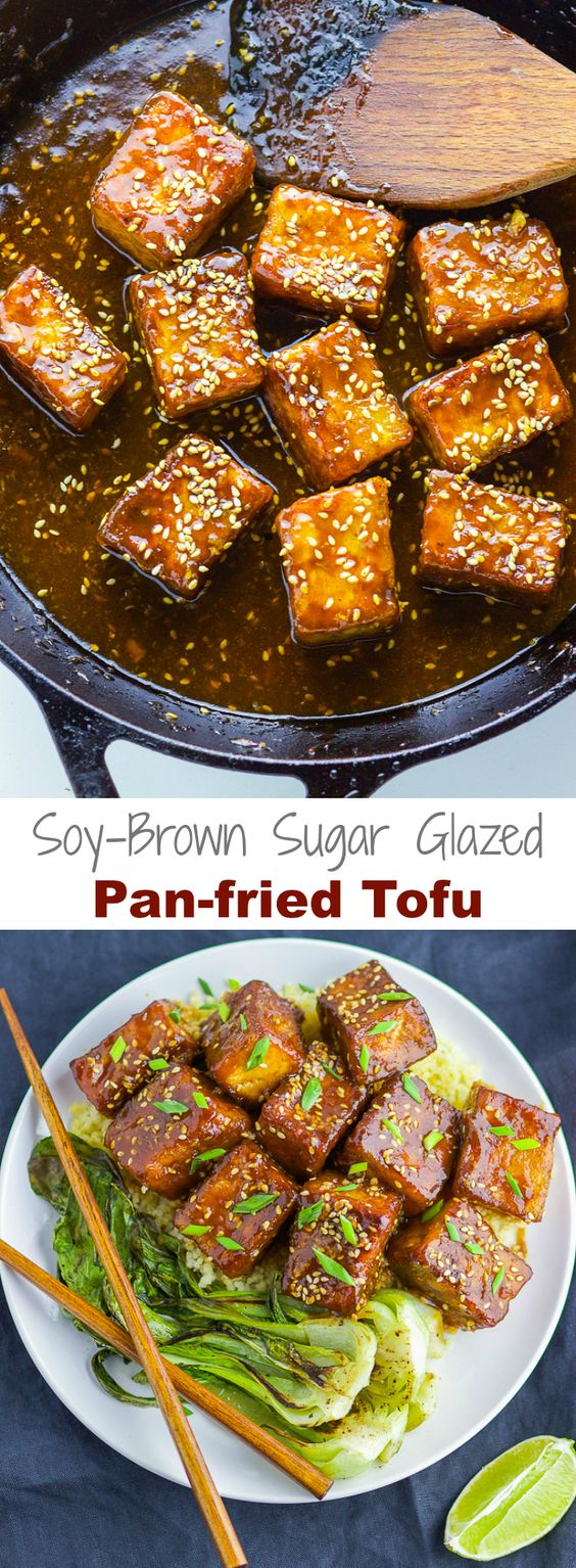 Perfect crispy tofu coated with a satisfying soy and brown sugar sauce; with this Soy-Brown Sugar Glazed Pan-fried Tofu, you won't miss meat anytime soon!