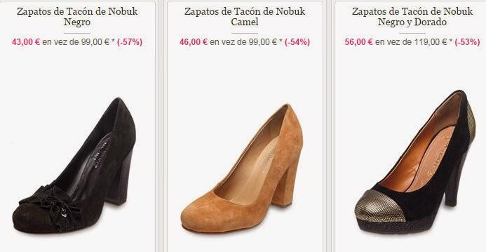 Ejemplos de tres pares de zapatos de tacón en piel de Nobuk