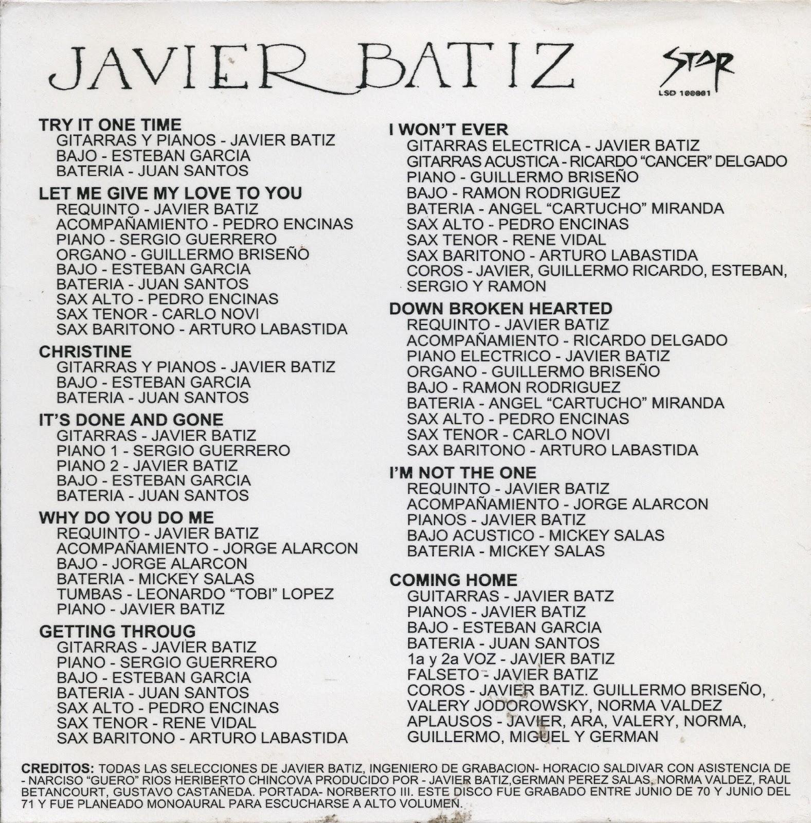 discografia de javier batiz